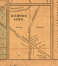 Diamond Lake Village - Lake Co., Illinois 1861 Old Town Map Custom Print - Lake Co.
