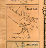 Half Day Village - Lake Co., Illinois 1861 Old Town Map Custom Print - Lake Co.