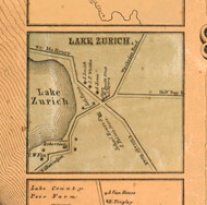 Lake Zurich Village - Lake Co., Illinois 1861 Old Town Map Custom Print - Lake Co.