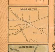 Long Grove Village - Lake Co., Illinois 1861 Old Town Map Custom Print - Lake Co.