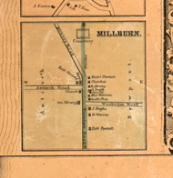 Milburn Village - Lake Co., Illinois 1861 Old Town Map Custom Print - Lake Co.