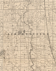 Libertyville, Illinois 1873 Old Town Map Custom Print - Lake Co.