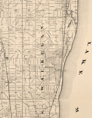 Wakegan, Illinois 1873 Old Town Map Custom Print - Lake Co.