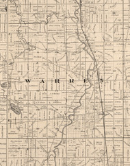 Warren, Illinois 1873 Old Town Map Custom Print - Lake Co.