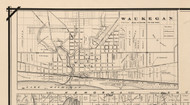 Waukegan Village, Illinois 1873 Old Town Map Custom Print - Lake Co.