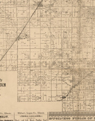 Elkhart, Illinois 1893 Old Town Map Custom Print - Logan Co.