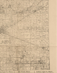 Laenna, Illinois 1893 Old Town Map Custom Print - Logan Co.