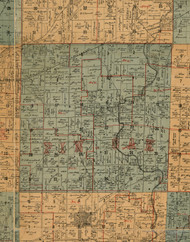 Pin Oaks, Illinois 1892 Old Town Map Custom Print - Madison Co.