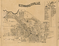 Edwardsville Village, Illinois 1892 Old Town Map Custom Print - Madison Co.