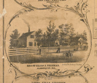 Elias Thomas Residence Algonquin - McHenry Co. , Illinois 1862 Old Town Map Custom Print - McHenry Co.