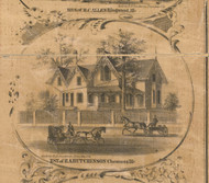 RA Hutchinson Residence Chemung - McHenry Co. , Illinois 1862 Old Town Map Custom Print - McHenry Co.