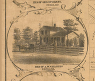 AW Grannis Residence Coral - McHenry Co. , Illinois 1862 Old Town Map Custom Print - McHenry Co.