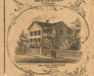 Thomas Huntley Residence Huntley - McHenry Co. , Illinois 1862 Old Town Map Custom Print - McHenry Co.