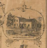 T McD. Richards Residence Seneca - McHenry Co. , Illinois 1862 Old Town Map Custom Print - McHenry Co.