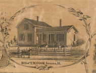 TM Cook Residence Seneca - McHenry Co. , Illinois 1862 Old Town Map Custom Print - McHenry Co.