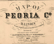 Title of Source Map - Peoria Co., Illinois 1861 Old Town Map Custom Print - Peoria Co.