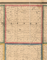 Akron, Illinois 1861 Old Town Map Custom Print - Peoria Co.