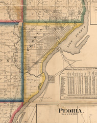 Peoria, Illinois 1861 Old Town Map Custom Print - Peoria Co.