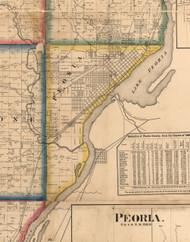 Peoria, Illinois 1861 Old Town Map Custom Print - Peoria Co.
