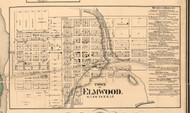 Elmwood Village - Peoria Co., Illinois 1861 Old Town Map Custom Print - Peoria Co.
