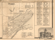 Peoria Village - Peoria Co., Illinois 1861 Old Town Map Custom Print - Peoria Co.