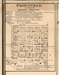 Princeville Village - Peoria Co., Illinois 1861 Old Town Map Custom Print - Peoria Co.