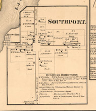Southport Village - Peoria Co., Illinois 1861 Old Town Map Custom Print - Peoria Co.