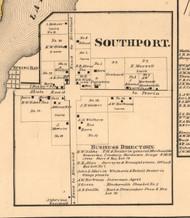 Southport Village - Peoria Co., Illinois 1861 Old Town Map Custom Print - Peoria Co.