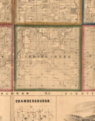 Spring Creet, Illinois 1860 Old Town Map Custom Print - Pike Co.