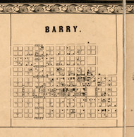 Barry Village - Pike Co., Illinois 1860 Old Town Map Custom Print - Pike Co.