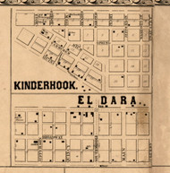 Kinderhook & El Dara Villages - Pike Co., Illinois 1860 Old Town Map Custom Print - Pike Co.