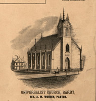 Barry Universalist Church - Pike Co., Illinois 1860 Old Town Map Custom Print - Pike Co.