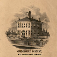 Griggsville Academy - Pike Co., Illinois 1860 Old Town Map Custom Print - Pike Co.