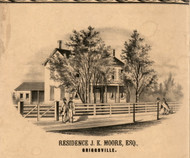JK Moore Residence Griggsville - Pike Co., Illinois 1860 Old Town Map Custom Print - Pike Co.