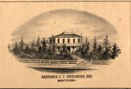 CT Sweringen Residence Montezuma - Pike Co., Illinois 1860 Old Town Map Custom Print - Pike Co.