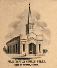Perry First Baptist Church Rev Hawker - Pike Co., Illinois 1860 Old Town Map Custom Print - Pike Co.