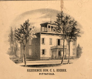 CL Higbee Residence Pittsfield - Pike Co., Illinois 1860 Old Town Map Custom Print - Pike Co.