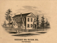 William Watson Esq Residence Pittsfield - Pike Co., Illinois 1860 Old Town Map Custom Print - Pike Co.