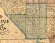 Richland, Illinois 1863 Old Town Map Custom Print - St. Clair Co.