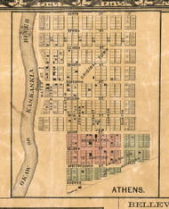 Athens Village - St Clair Co., Illinois 1863 Old Town Map Custom Print - St. Clair Co.