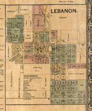 Lebanon Village - St Clair Co., Illinois 1863 Old Town Map Custom Print - St. Clair Co.