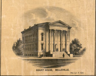 Belleville Courthouse - St Clair Co., Illinois 1863 Old Town Map Custom Print - St. Clair Co.