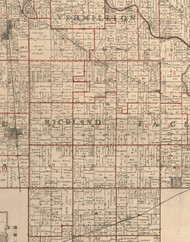 Richland, Illinois 1895 Old Town Map Custom Print - LaSalle Co.