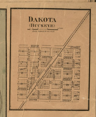 Buckeye & Dakota Villages - Stephenson Co., Illinois 1859 Old Town Map Custom Print - Stephenson Co.