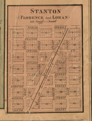 Florence & Loran & Stanton Villages - Stephenson Co., Illinois 1859 Old Town Map Custom Print - Stephenson Co.