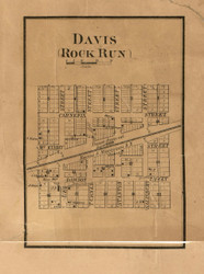 Rock Run & Davis Villages - Stephenson Co., Illinois 1859 Old Town Map Custom Print - Stephenson Co.