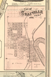 Grayville Village - White Co., Illinois 1871 Old Town Map Custom Print - White Co.