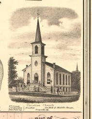 Grayville Christian Church - White Co., Illinois 1871 Old Town Map Custom Print - White Co.