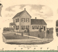 Samuel Martin Residence Grayville - White Co., Illinois 1871 Old Town Map Custom Print - White Co.