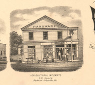 Speck Hardware Grayville - White Co., Illinois 1871 Old Town Map Custom Print - White Co.